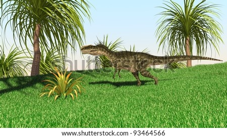 monolophosaurus in jungle
