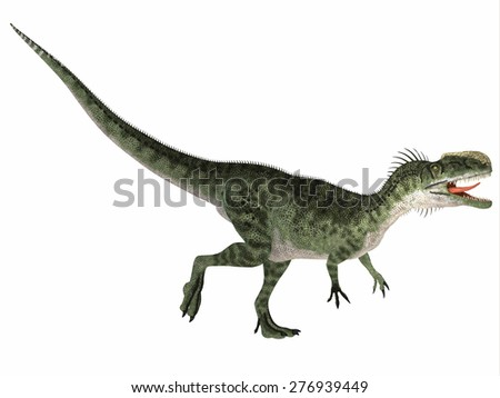Monolophosaurus over White - Monolophosaurus was a carnivorous theropod dinosaur that lived in the Jurassic Period of China.
