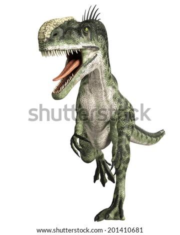 monolophosaurus walk - stock photo