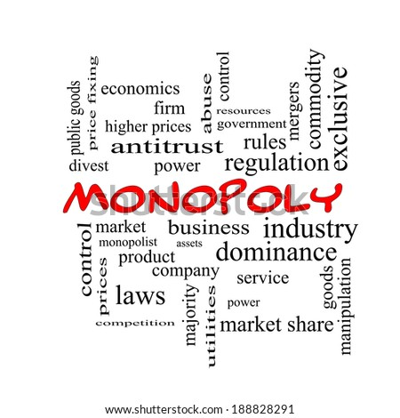 Monopoly Word Cloud Concept in red caps with great terms such as business, industry, dominance and more.