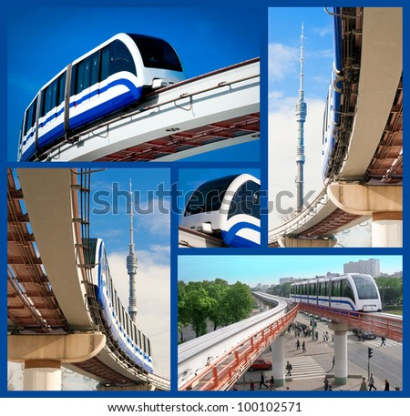 Monorail fast train on railway, Moscow, Russia