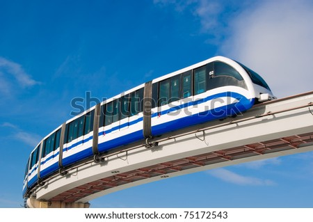 Monorail fast train on railway, Moscow, Russia - stock photo