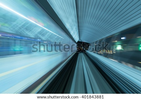 Monorail motion blur on the Yurikamome in Tokyo