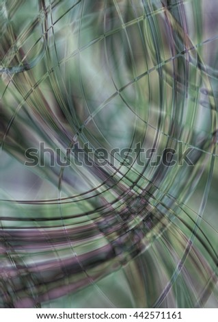 Monotone background in greenish shades of intersecting stripes and waves - stock photo