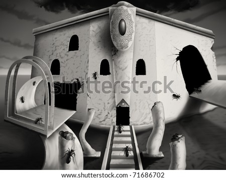 monotone digital painting of a surreal optical art facade, busy with ants - stock photo