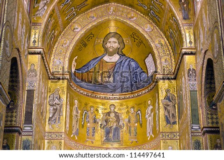 MONREALE, ITALY - CIRCA APRIL 2012: The interior of the Cathedral of Monreale circa April 2012. The Cathedral of Monreale is located in Monreale, Sicily. It is famous by mosaic of Christ Pantocrator. - stock photo