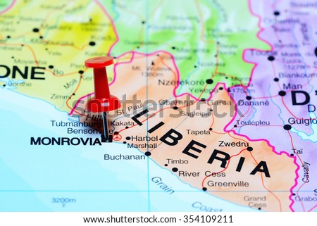 Monrovia pinned on a map of Africa - stock photo