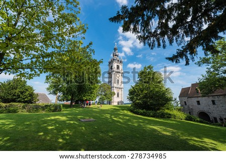 MONS, BELGIUM - JUNE 13, 2014: The belfry, also called El Catiau by Montois, was built in Mons in the 17th century and is the only baroque style building in Belgium that reaches a height of 87 meters.