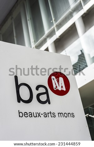 MONS, BELGIUM - MAY 22, 2013: BAM (Beaux-Arts Museum) facade in Mons, capital of the Wallonian province of Hainaut in Belgium. - stock photo