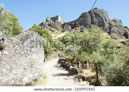 Monsanto - the most Portuguese village of Portugal, pathway to ruins of castle - stock photo