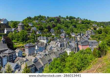 Monschau old town center with half-timbered houses, germany - stock photo
