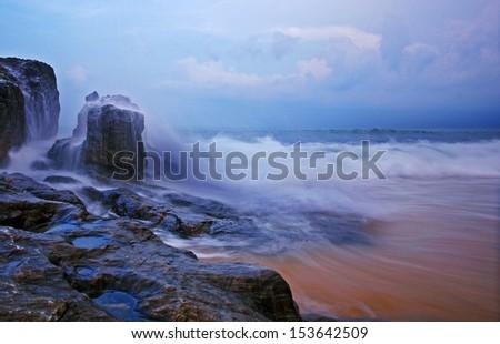 Monsoon - A scenery of a beach in Terengganu, Malaysia - stock photo