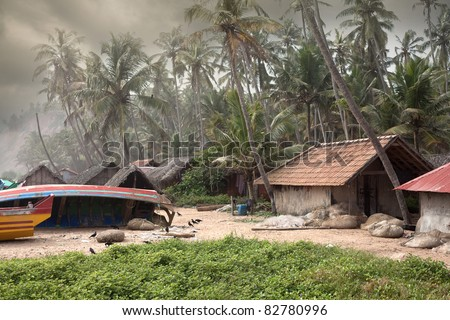 Monsoon Fishing Village in Varkala, Kerala, India - stock photo