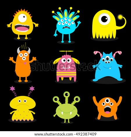 Monster big set. Cute cartoon scary character. Baby collection. Black background. Isolated. Happy Halloween card. Flat design