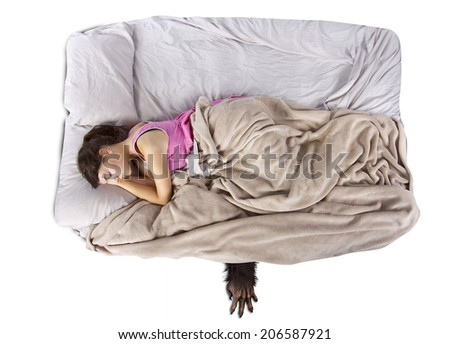 monster coming out from under teenage girls bed - stock photo