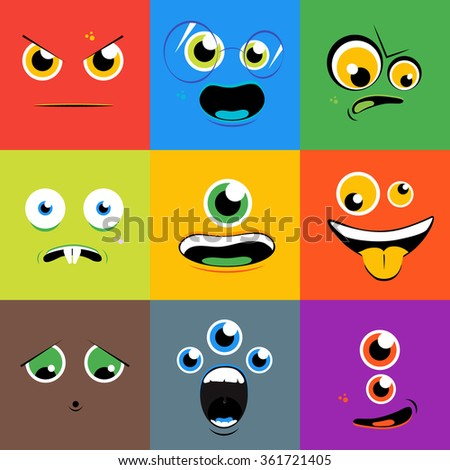 Monster faces icons