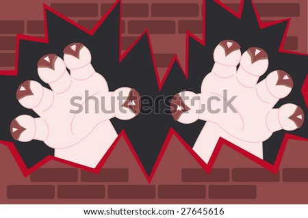monster hands with claws coming through a broken wall - stock photo