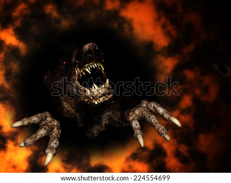 Monster in fire - stock photo