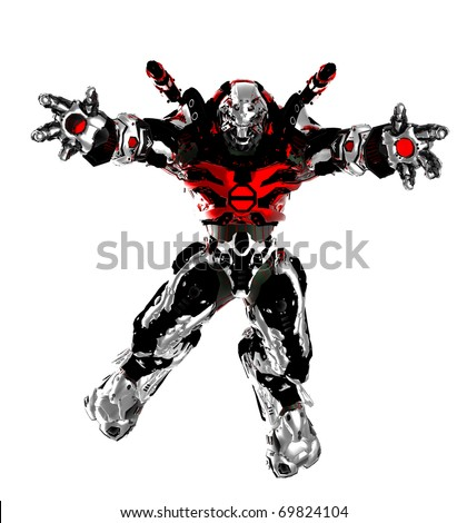 monster robot jumping with open arms - stock photo