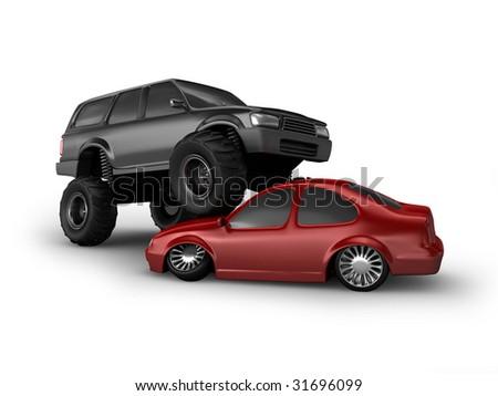 Monster truck crush red car - stock photo