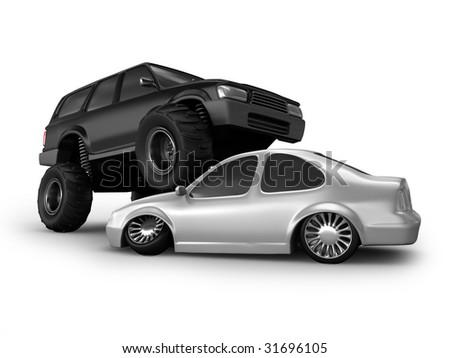 Monster truck crush white car - stock photo
