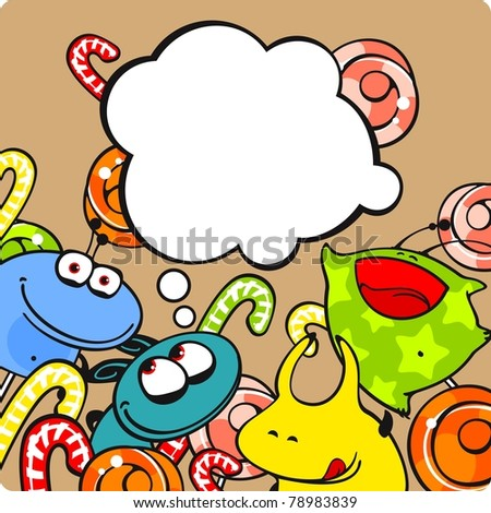 Monsters and candies (raster version) - stock photo