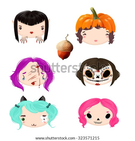 Monsters icon in Halloween costumes - stock photo