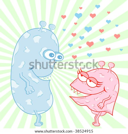 Monsters in love cartoon characters surrounded by love hearts. Vector also available.