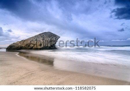Monsul Beach with a cloudy blue sky, its a natural scenery of various famous films in Cabo de Gata, natural park of Spain - stock photo