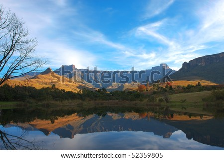 Mont Aux Source amphitheater Drakenberg Mountains in South Africa - stock photo