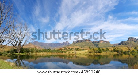 Mont Aux Source amphitheater Drakensberg Mountains in South Africa - stock photo