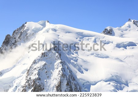 Mont Blanc alps view with clear sky - stock photo