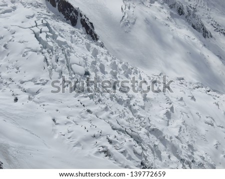 Mont Blanc basis covered with seracs and ski patterns