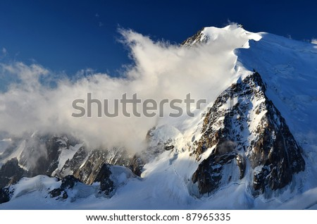 Mont Blanc du Tacul one of the highest peaks in Alps, France