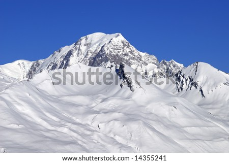 Mont Blanc, French Alps, view from Les Arcs 1950 - stock photo