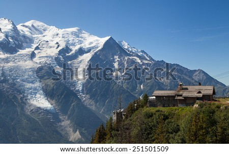 Mont blanc from Brevent, Chamonix-Mont-Blanc, France. - stock photo