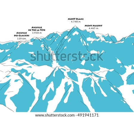 Mont Blanc, height relief, mountains, Italy and France