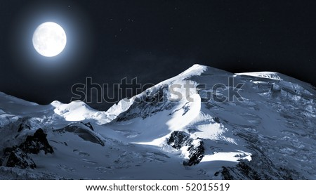Mont Blanc in the moonlit night. The moon and stars. Mont Blanc, Chamonix, French Alps. France. - stock photo