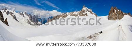 Mont Blanc massif. panorama of the Italian Alps - stock photo