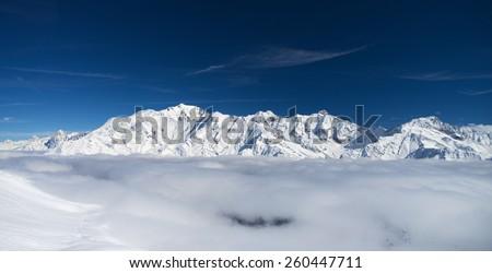 Mont-Blanc massive, winter mountain landscape  - stock photo
