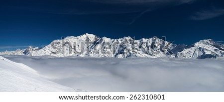 Mont-Blanc massive, winter mountain landscape  - stock photo