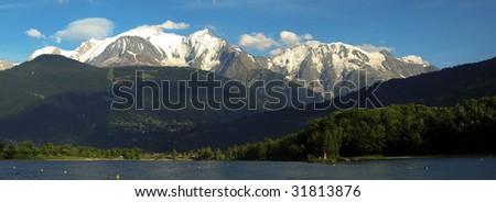 Mont Blanc mountain range panorama - stock photo
