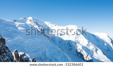 Mont Blanc mountain, White mountain (view from Aiguille du Midi Mount, France)