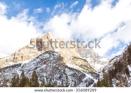 Mont Blanc mountains. The mountain is the highest in the alps and the European Union. - stock photo
