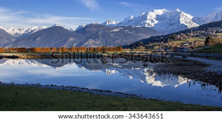 Mont Blanc reflections on a lake - stock photo