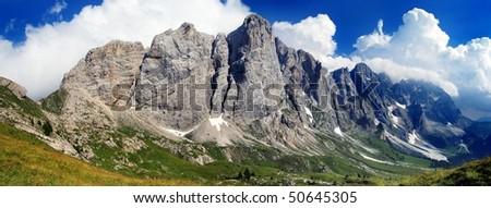 mont mulaz in pale di san martino - dolomiti italy - stock photo