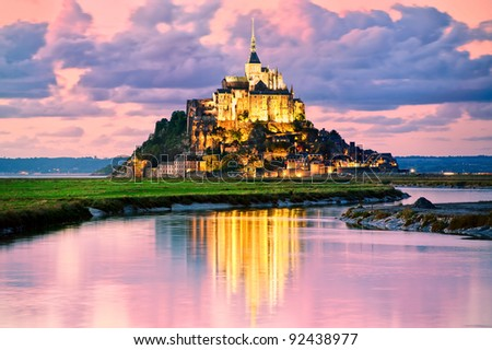 Mont Saint Michel at sunset, France - stock photo