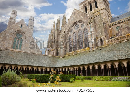 Mont Saint Michel cloister, France - stock photo