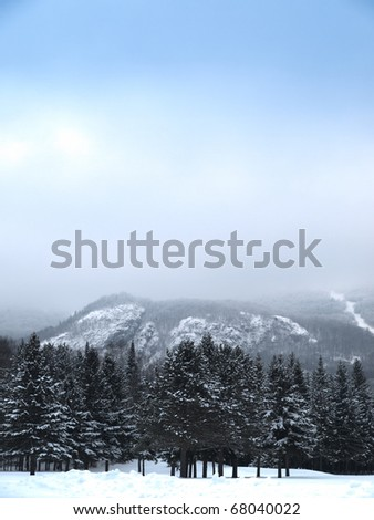 Mont-Tremblant south mountain side with soft hdr effects - stock photo