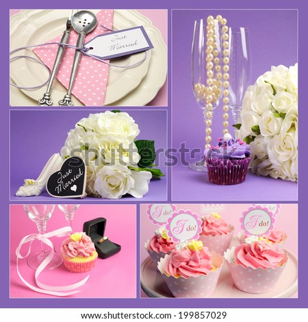 Montage collage of five pink and purple theme wedding images including champagne glasses, bouquet, table settings and I Do cupcakes. - stock photo